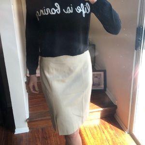Trina Turk Knee Length Lace Lined Skirt Slit Tan